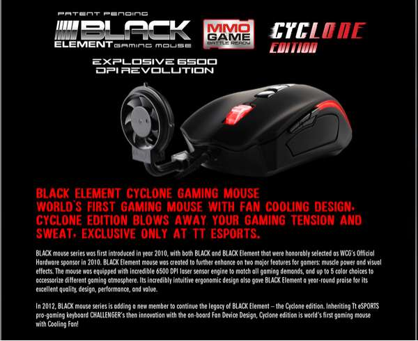 black element gaming mouse cyclone
