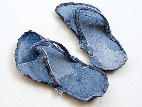 Upcycled Blue Jean Slippers