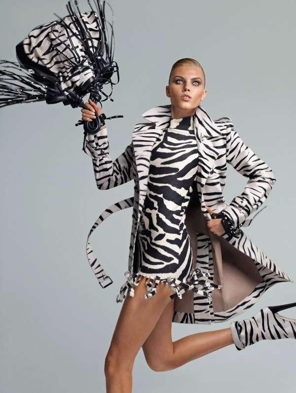 Prancing Zebra Print Editorials