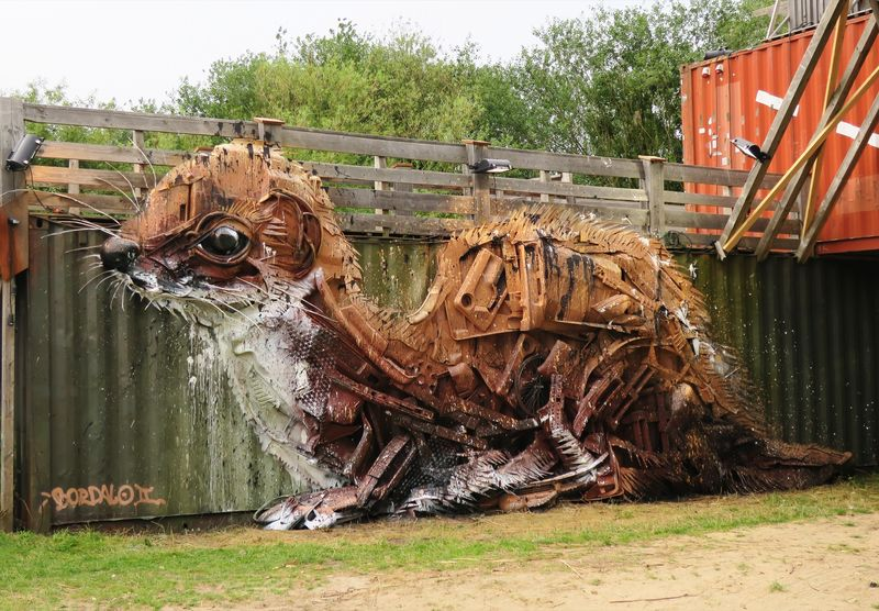 Upcycled Animal Art Installations