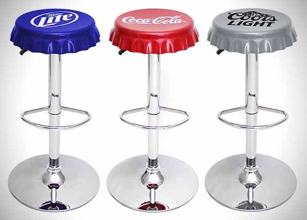 Classic Beverage Inspired Stools Bottle Cap Bar Stools