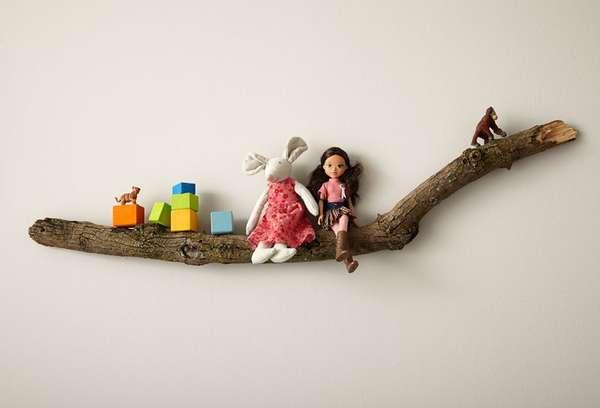Diy tree shelves branch shelf for Tree of life bookshelf