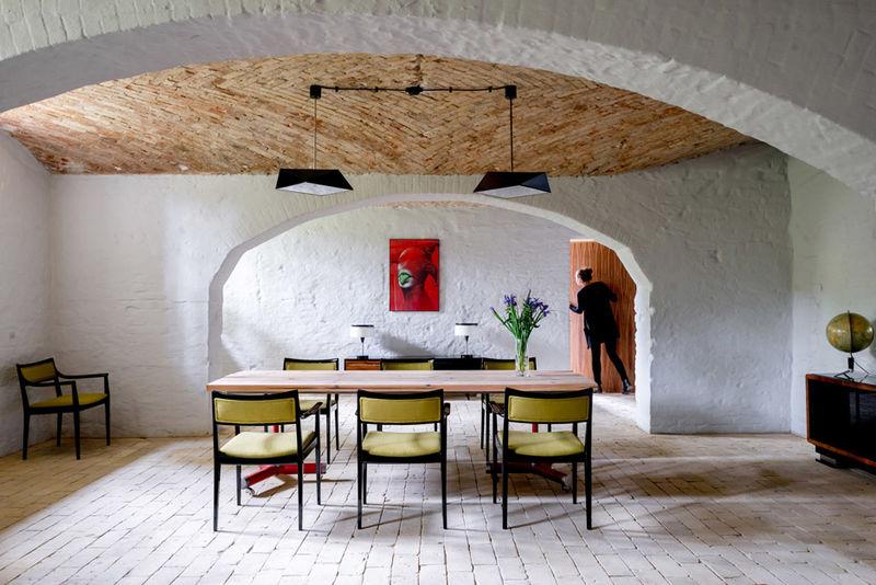 Juxtaposed Brick Apartment Furnishings