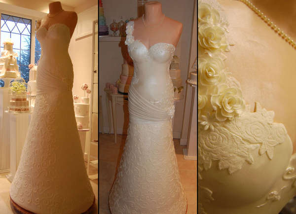 Bridal Gown Wedding Cake