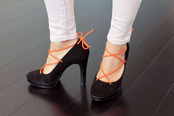 DIY Laced-Up Pumps