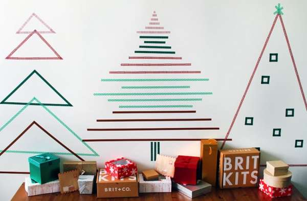 Brit + Co. Washi Christmas Wall
