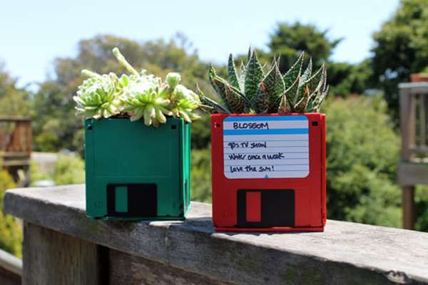 Floppy Disk Flower Holders