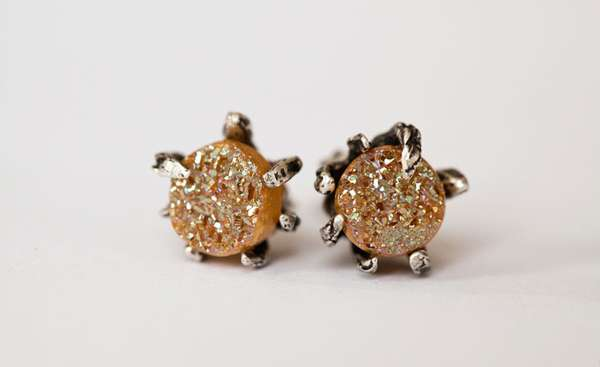 Brown Sugar Druzy Studs by Lauren Wolf