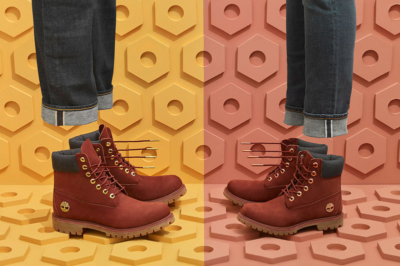 Denim-Accented Burgundy Boots