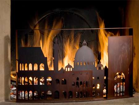 burning city fireplace screen