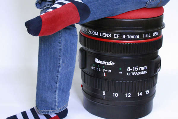 Cushiony camera seating camera lens stool by monoculo for Best lens for furniture photography