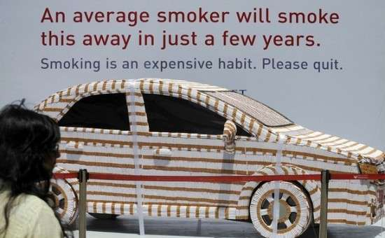 Car Covered in 200000 Cigarettes