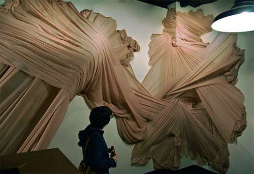 Ruffled Fabric Art Installations