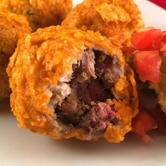 Chip-Covered Beef Balls