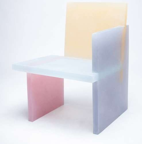 Frosted Color Blocked Furniture Cast Resin Table