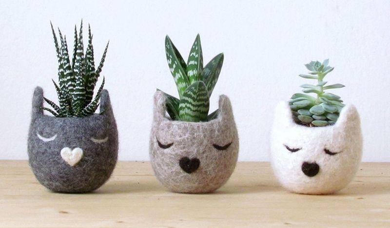 Felt Feline Planters