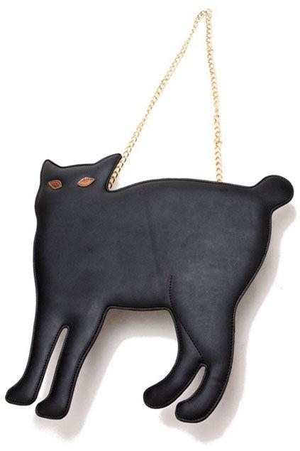 fashionable feline accessories cat shaped rivet black bag