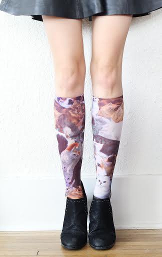 Feline Printed Hosiery