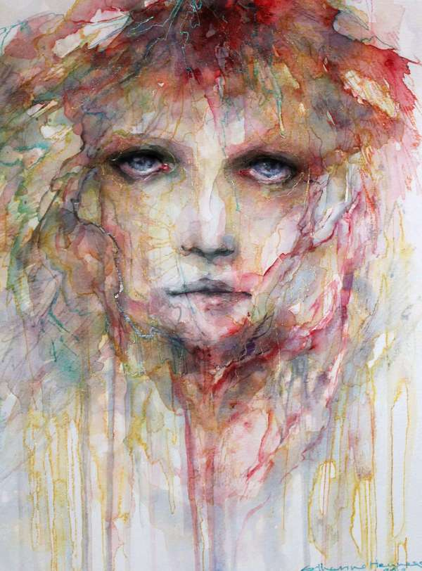 Somber Streaky Watercolor Portraits Catherine Hennessey