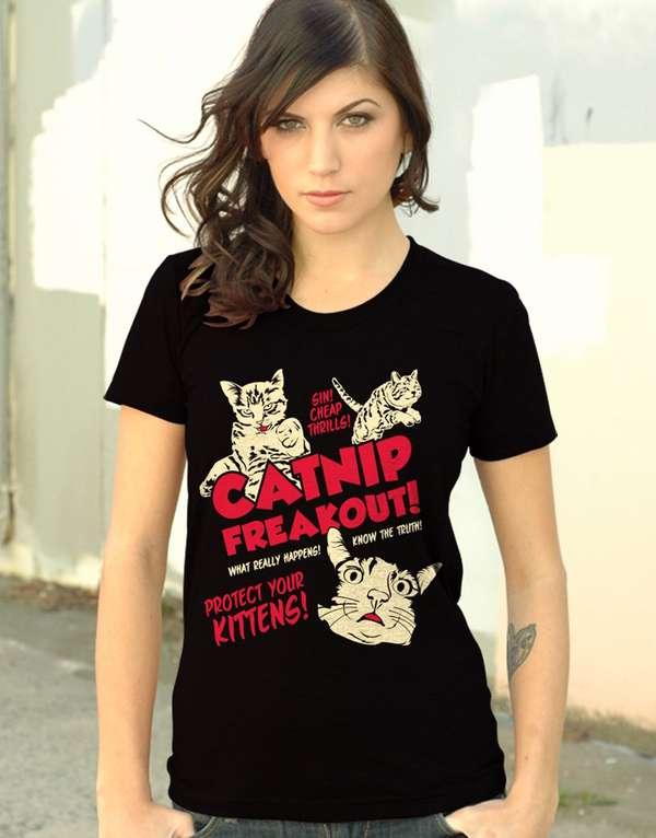 Drugged-Out Feline Shirts