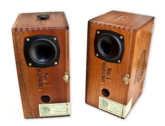 Cedar Cigar Box Powered Speakers