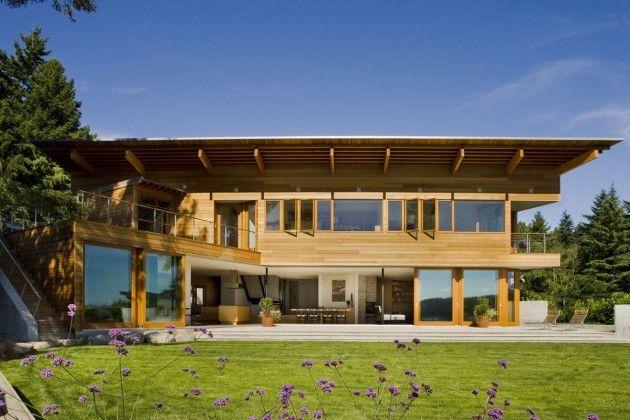 Sloping Lakeside Houses
