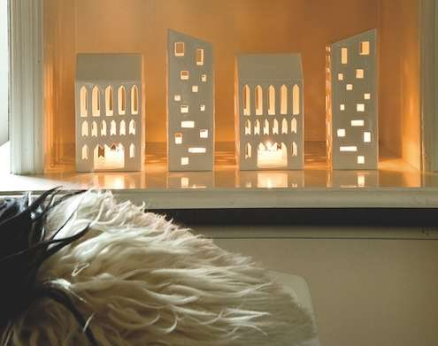 skyline candle covers ceramic house decor