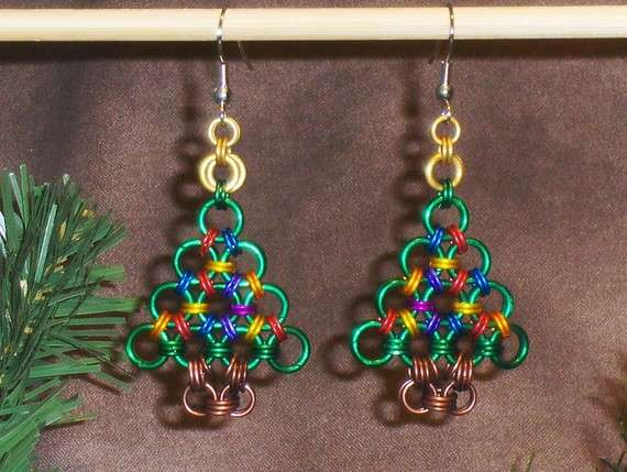 Festive Metal Accessories Chainmaille Christmas Tree