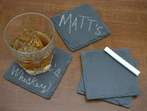 Personalized cup placers chalkboard slate coasters - Slate drink coasters ...