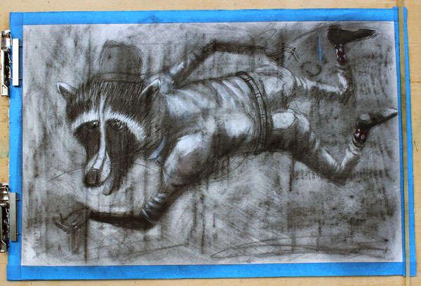 Mischievous Critter Charcoal Art