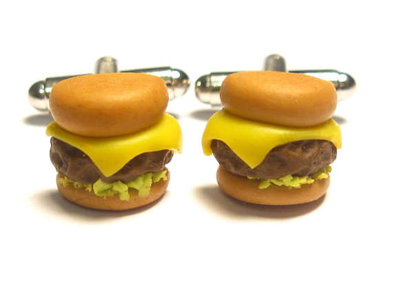 cheeseburger cuff links