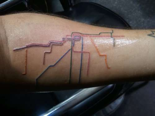 City transit tatts chicago train map tattoo for Best tattoo places in chicago