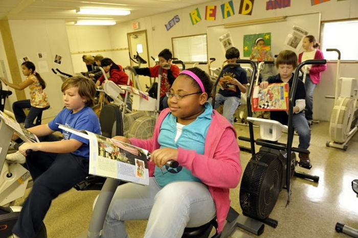 Literacy-Enhancing Desk Bikes