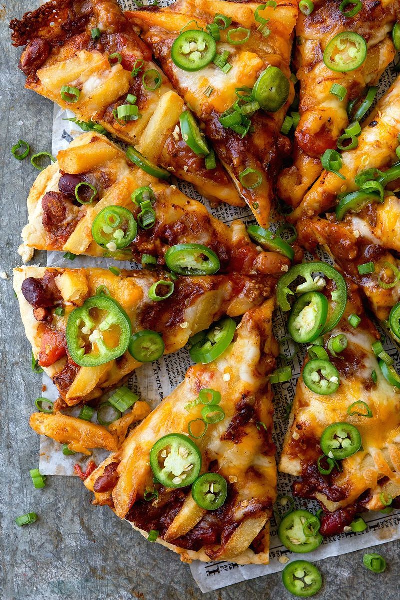 Chili Cheese Fries Pizzas