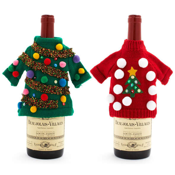 Christmas Sweater Wine Bottle