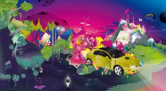 Blurred Colortastic Car Art
