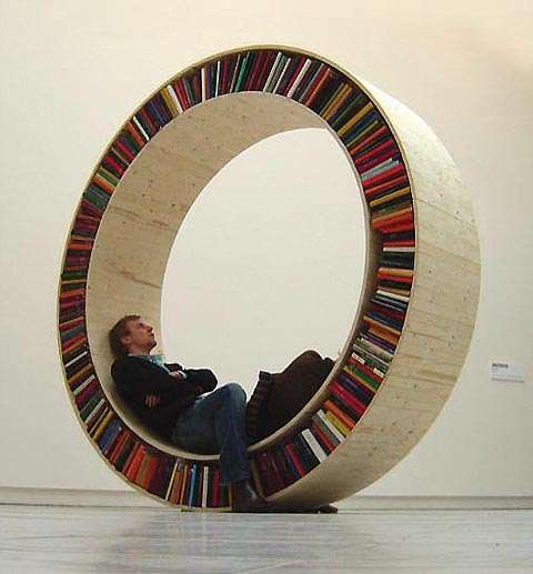 Hamster Wheel-Inspired Shelves