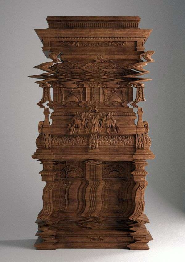 Intentionally Distorted Carved Cabinets