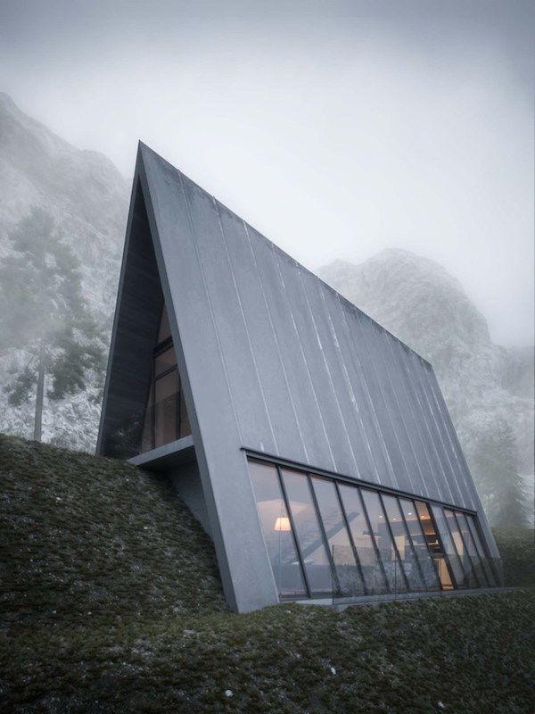 Triangular Cliffside Homes