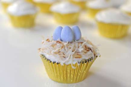 Avian Imitation Sweets : Coconut Nest Cupcakes