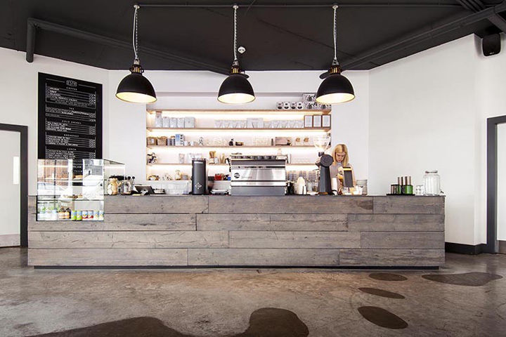 Minimalist Juxtaposed Cafes Coffee Shop