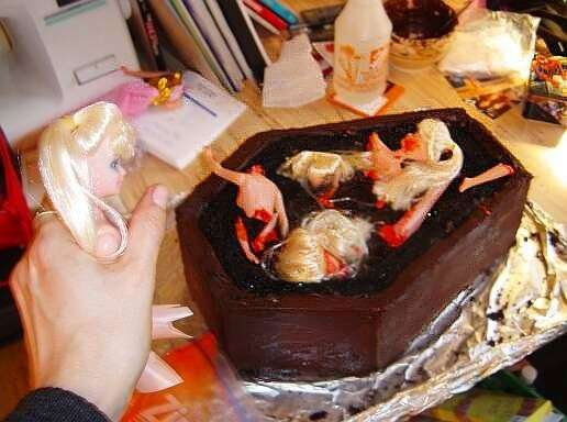 Coffin Cakes Baking With Dead Barbie Dolls