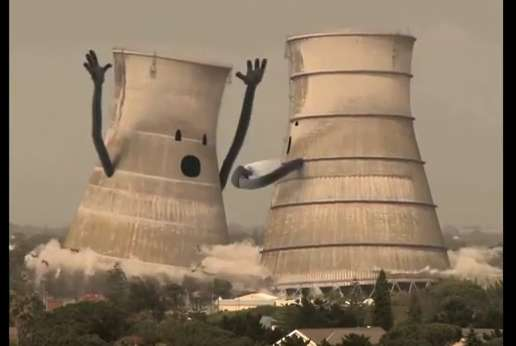 Cooling Tower Demolition : Personified pillar commercials collapsing cooling towers
