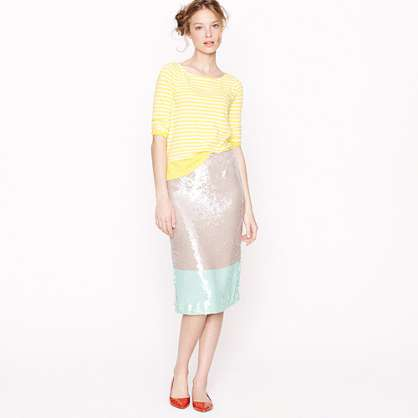 Collection Pencil Skirt in Colorblock Sequin by J Crew