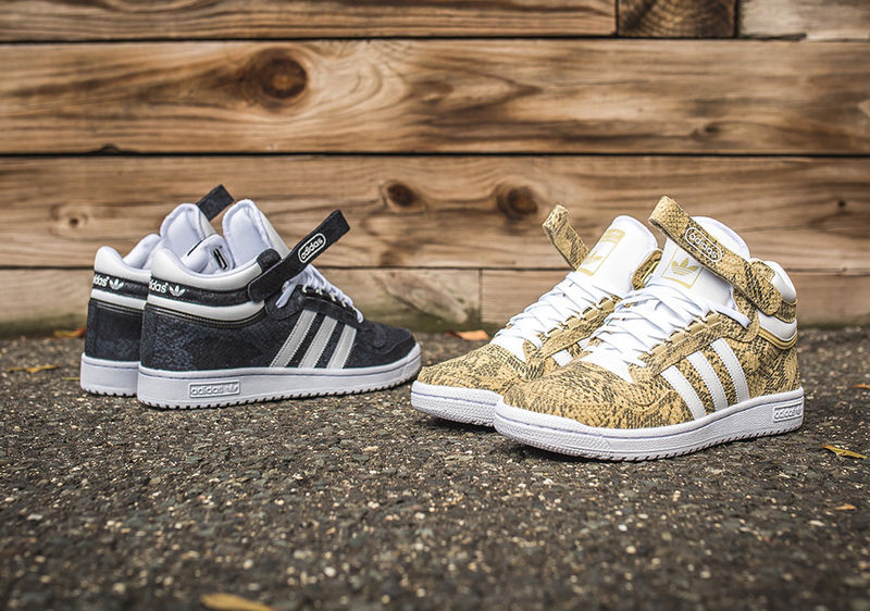 Three-Striped Snakeskin Sneakers