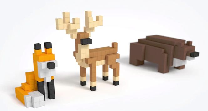 Pixel-Themed Magnetic Toys