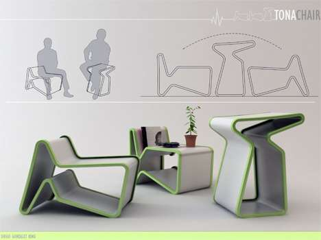 Convertible Furniture convertible furniture: the tona chair / low table / high table