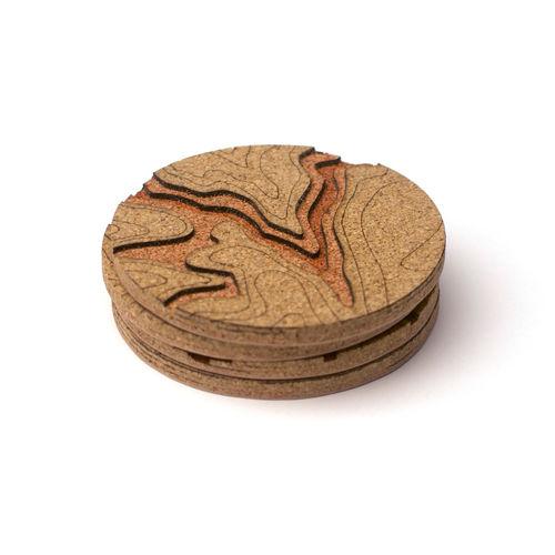 Topographic Cork Coasters