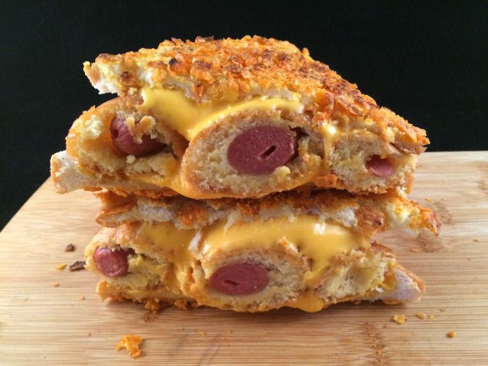 Cheesy Corn Dog Sandwiches