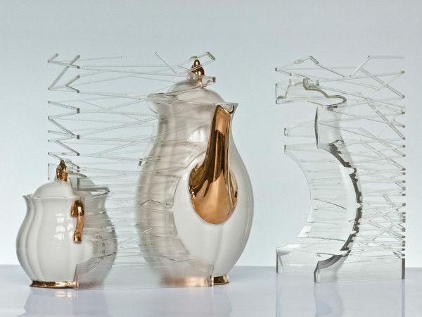 Transparent Tea Set Sculptures